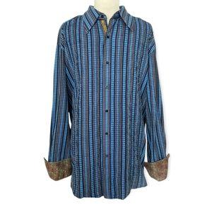 Robert Graham XXL Blue Button Up Paisley Flip Cuff Shirt